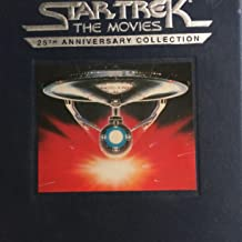 Star Trek. The Movies. 25th Anniversary Collection. 1991. 5 Videotapes in Cloth box with 5 VHS tapes in VHS boxes with pins. Includes Star Trek, The Motion Picture, The Wrath of Khan, The Search for Spock, The Voyage Home and The Final Frontier.