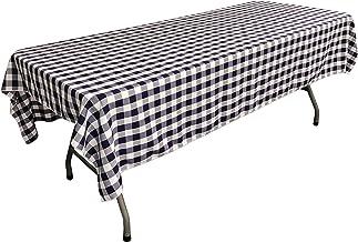مفرش طاولة LA Linen مستطيل الشكل مقاس 152.4 سم × 274.4 سم، أزرق داكن وأبيض