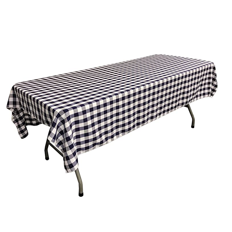 LA Linen Checkered Tablecloth, 60 by 102-Inch, Navy Blue