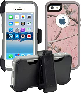 AlphaCell Cover Compatible with iPhone 5 / 5S / SE   2-in-1 Screen Protector & Holster Case   Full Body Military Grade Protection with Carrying Belt Clip   Protective Drop-Proof Shock-Proof
