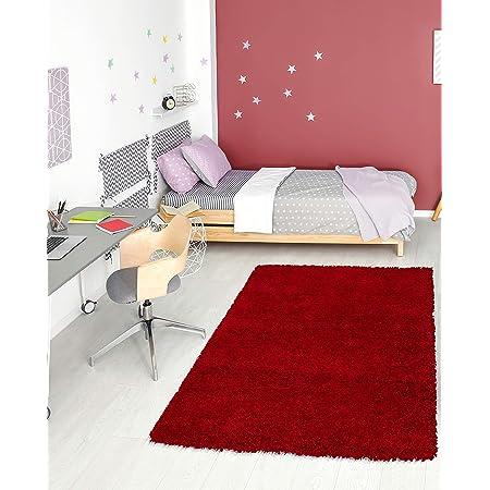 Unique Loom Solo Solid Shag Collection Modern Plush Cherry Red Area Rug 3 3 X 5 3 Furniture Decor