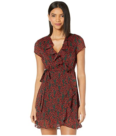 Bardot Wrap Dress (Mini Cherry) Women