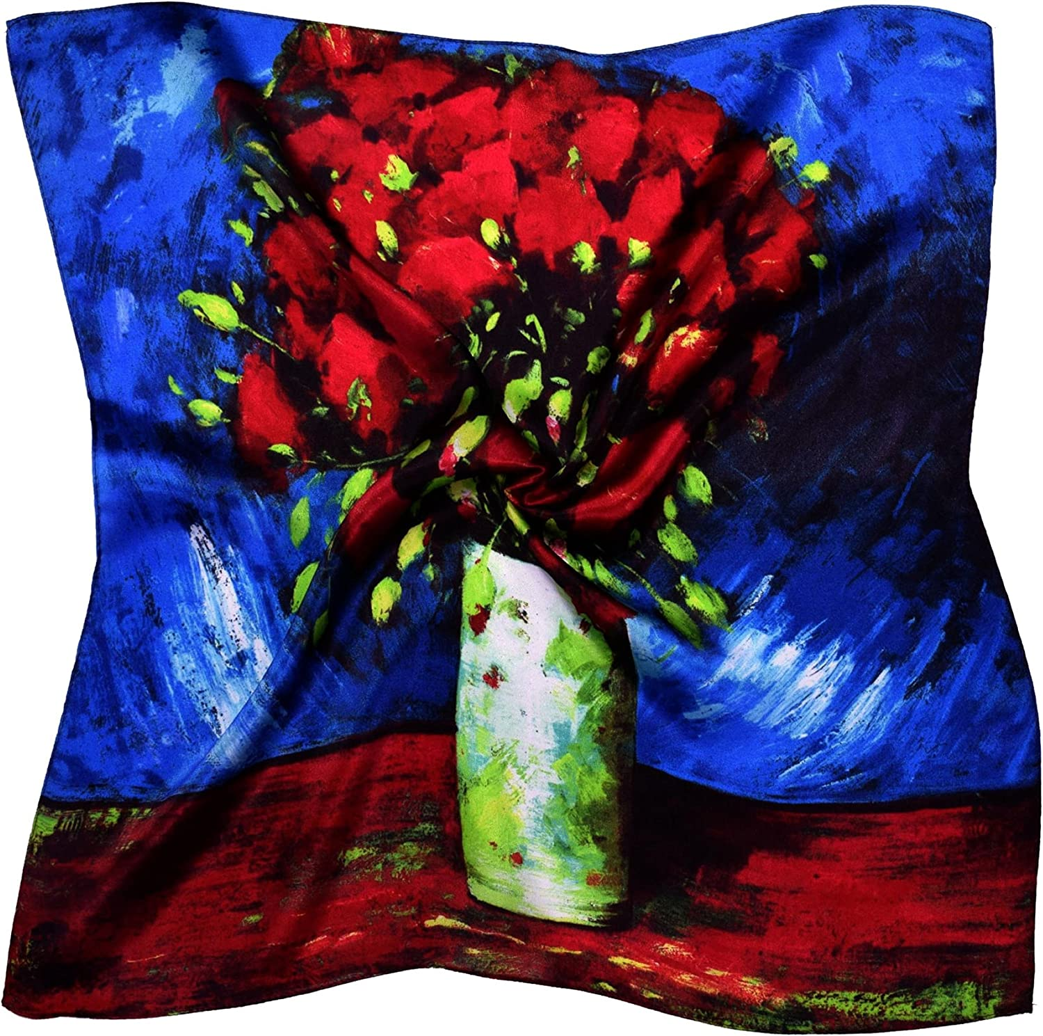 bluee Red Vase Thick Silk Small Square Scarf