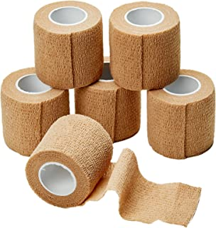 MEDca Self Adherent Cohesive Wrap Bandages 2 Inches X 5 Yards 6 Count (Skin Color)