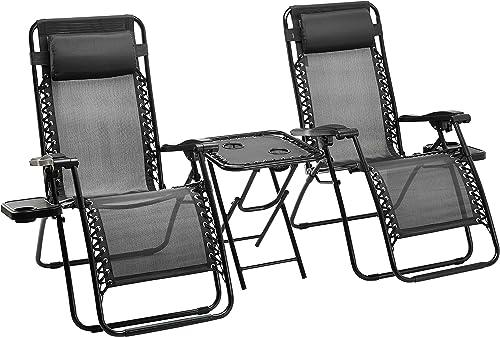 Amazon Basics Lot de 2 Fauteuils Relax Pliants avec Table D'appoint, Noire