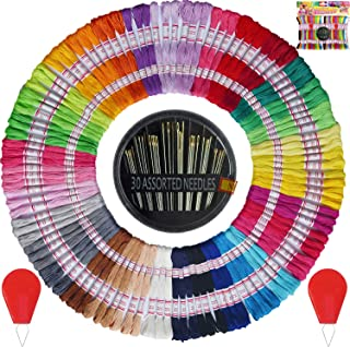 Premium Vibrant Rainbow Color Embroidery Floss - Friendship Bracelets Floss - Cross Stitch Threads - Crafts Floss - 105 Skeins Per Pack and Free Set of 30 Embroidery Needles and 2 Needle Threaders