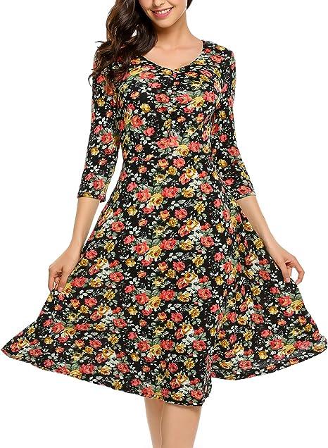 Zeagoo Damen Sommerkleider Jerseykleid Wickelkleid Vintage Blumen Kleid V Ausschnitt Kurzarm Knielang Amazon De Bekleidung