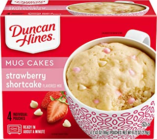 Duncan Hines Perfect Size for 1 Cake Mix, Ready in About a Minute, Strawberry Shortcake, 4 Individual Pouches