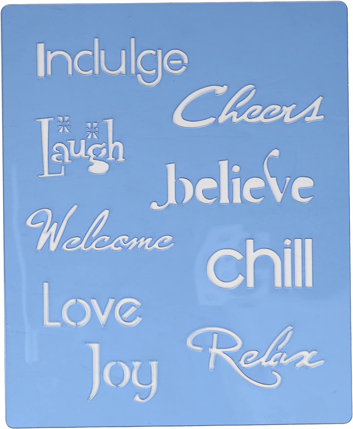 Faux Faux Faux Like a Pro Inspirational Words Stencil, Laugh Love Joy Believe Indulge, 5.5 by 7-Inch, Single Overlay by Faux Like a Pro B006PWNPWC   Sorgfältig ausgewählte Materialien  befc85