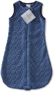 SwaddleDesigns Microfleece Sleeping Sack with 2-Way Zipper, True Blue Puff Circles, 0-6MO