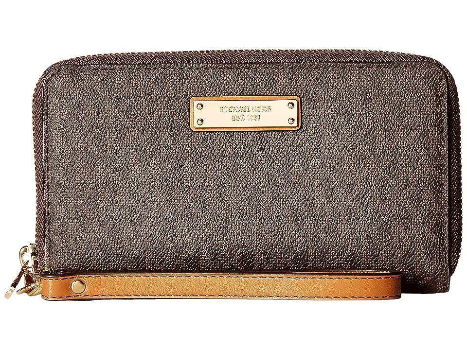 MICHAEL Michael Kors Wristlets Large Flat Multifunction Phone Case (Brown) Wallet