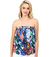 Nicole Miller - Tie-Dye Flowers Pleated Tube Top