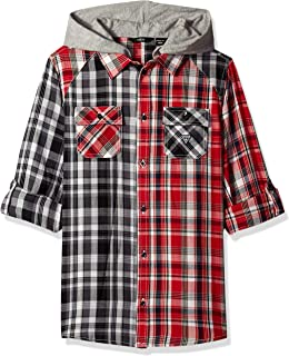 GUESS Boys' Big Roll Up Sleeve Button Down Plaid Hoodie