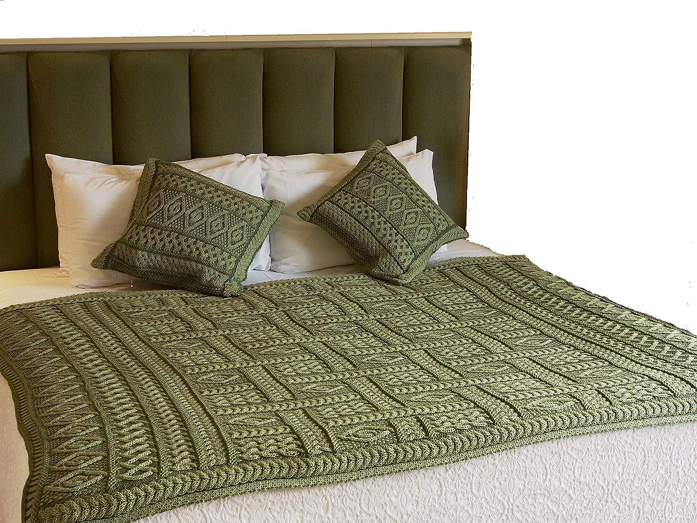 100% Irish Merino Wool Aran Plated Throw 2 Tone (Celtic Green Two Tone)