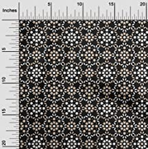 oneOone Velvet Black Fabric Floral & Tiles Moroccan Sewing Material Print Fabric by The Yard 58 Inch Wide