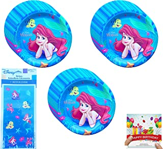 Little Mermaid Party Supplies Birthday Plates with Stickers Bundle Serves 24 Guests