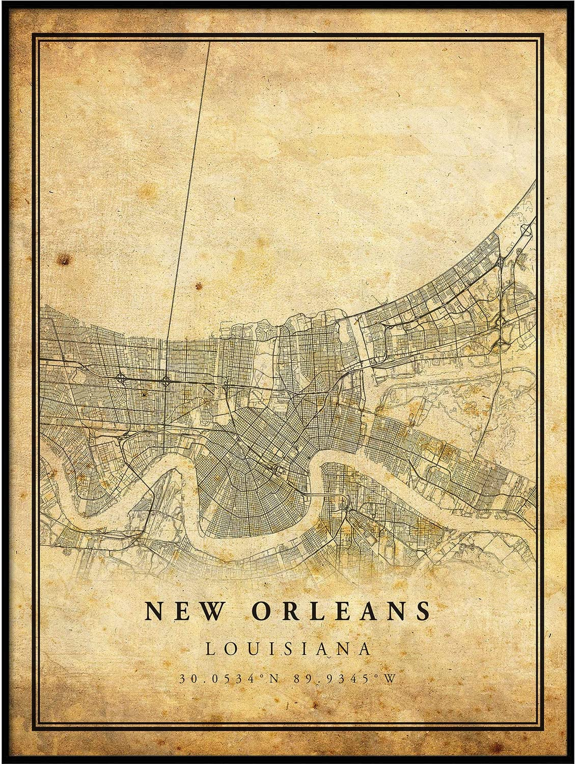 New Orleans map Vintage Style Milwaukee Mall Poster Pr Print latest Artwork City Old