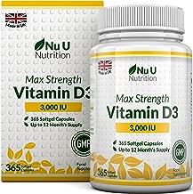 Vitamin D 3000 IU 365 Softgels (Full Year Supply)   Triple Strength Vitamin D3 Supplement   High Absorption Cholecalciferol   Gluten & Dairy Free by Nu U Nutrition