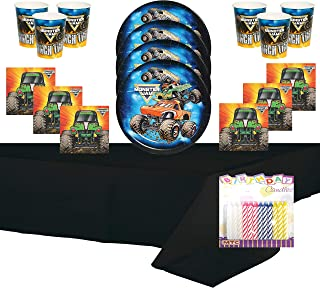 Monster Truck Party Supplies Pack Serves 16: Dessert Plates Beverage Napkins Cups and Table Cover with Birthday Candles (Bundle for 16)