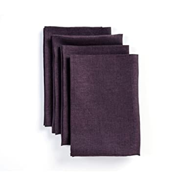 Solino Home 100% Pure Linen Dinner Napkins - 20 x 20 Inch Purple, Set of 4 Linen Napkins, Athena - European Flax, Soft & Handcrafted with Mitered Corners