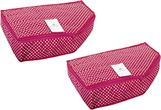 HomeStrap Cotton Quilted Blouse Cover/Organiser - Pack of 2 - Pink