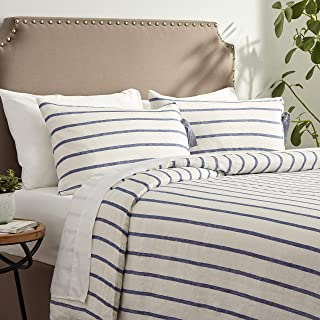 Stone & Beam Modern Farmhouse Striped Duvet Cover Set with Ties, King, Blue and White
