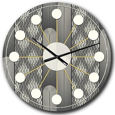 DesignQ 'Mimimal Black and White Design II' Mid-Century Modern Wall Clock for Home Bedroom Bathroom Office Living Room Decoration