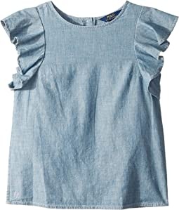 Chambray Flutter-Sleeve Top (Big Kids)