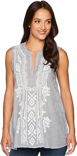 Artisan Sleeveless Stripe Tunic with White Embroidery