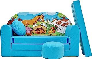 Pro Cosmo B5-Sofá Cama Infantil con puf, reposapiés, Almohada, Tela Azul, 168 x 98 x 60 cm, algodón