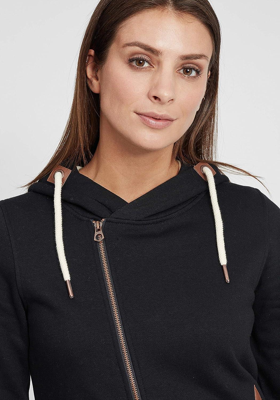 OXMO Vicky Zip Hood Long Damen Sweatjacke Kapuzenjacke Hoodie mit Kapuze Black (799000)