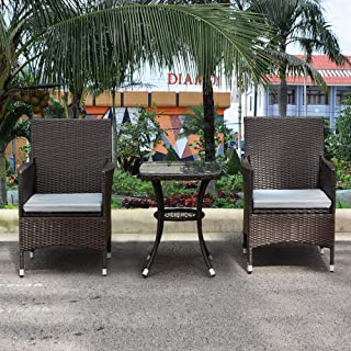 MCombo 3 Pieces Patio Furniture Set Outdoor Wicker Rattan Dining Chairs Porch Backyard Bistro Brown Lawn Conversation Sofa Set with Gray Cushion and Glass top Table 6081-DC03-BR