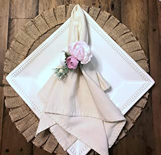 SET OF 6 NAPKIN RINGS   Spring Floral Pink and Blush Napkin Ring   Wedding Floral Napkin Ring   Pastel Wedding Napkin Rings   Easter Table Decor, Pink Floral Napkin Ring