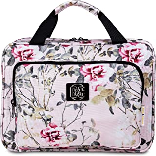 Large Hanging Travel Cosmetic Bag For Women - Versatile Toiletry And Cosmetic Makeup Organizer With Many Pockets pink palm...