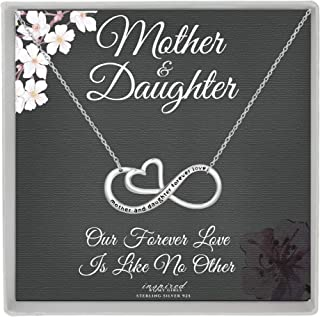 Sterling Silver Mother and Daughter Forever Love Infinity Heart Necklace and Keepsake Card Gift