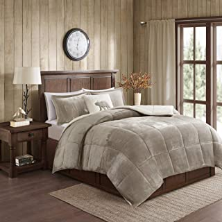 Woolrich Alton Plush to Sherpa Down Alternative Comforter Set Taupe/Ivory Full/Queen