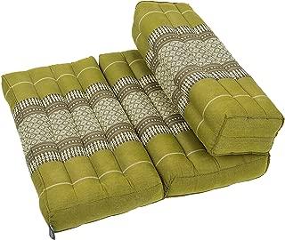 Kapok Dreams; Foldable Meditation Cushion, 100% Zafu/Zabuton, Thai Design Bamboo Green