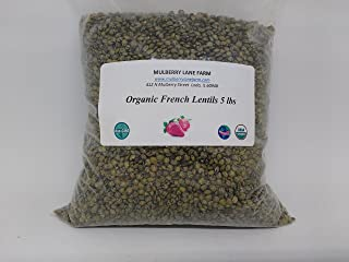 French Green Lentils 5 Pounds Petite, USDA Certified Organic, Non-GMO Bulk
