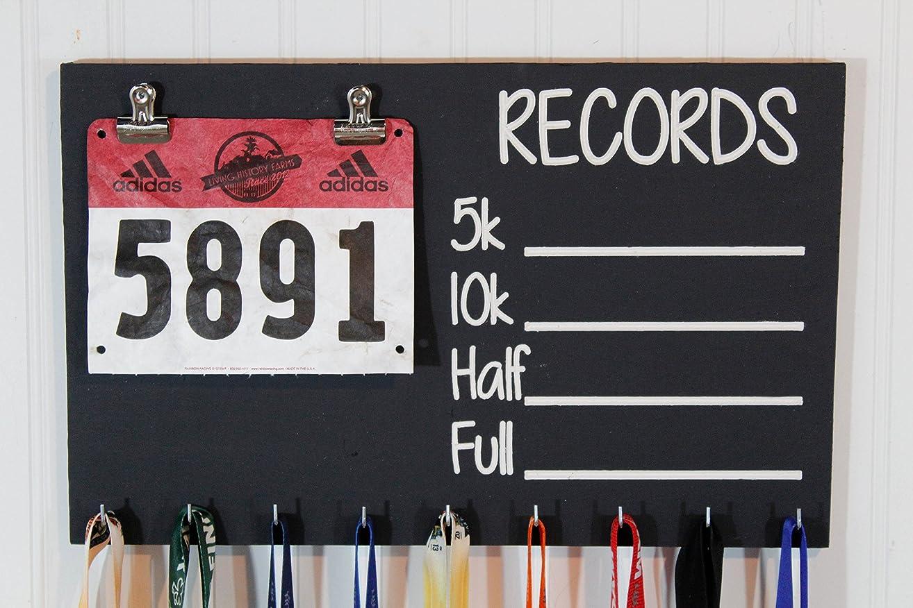 Race Medal Holder - Carved Records Chalkboard Running Medal Holder - Bib Holder