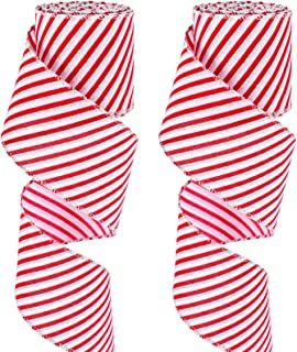 WHOLESALE Green Christmas Stockings Wreaths, Red 10 YARDS wide 2.5 in Wired Linen Ribbon with Stockings filled with Candy Canes