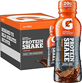 Gatorade Recover Protein Shake, Chocolate, 20g Protein, 11.16 fl oz Plastic Bottle, Pack of 12