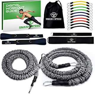 SMASH SPEED Resistance Running Exercise Bungee Bands (Waist) - Set of 2 - Agility, Gym, Fitness, Basketball and Soccer Training Equipment - 4 and 8 Ft, 80 Lb Strength