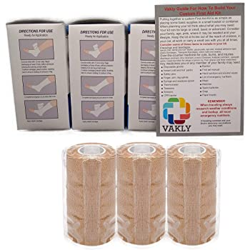 """4"""" Unna Boot Bandage with Zinc Oxide + Self Adhesive Wrap (3 of Each) + Vakly 1st Aid Kit Guide …"""