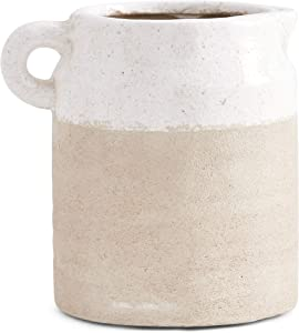 K&K Interiors 15293A-CR-4 6 Inch Ceramic Pot with Light Cream Glaze on Top