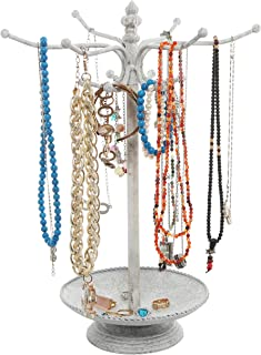 MyGift Vintage Style Whitewashed Metal 12 Hook Jewelry Organizer Tree Rack Stand w/Ring Dish Tray
