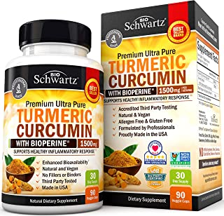 Turmeric Curcumin with BioPerine 1500mg. Highest Potency Available. Premium Joint & Healthy Inflammatory Support with 95% Standardized Curcuminoids. Non-GMO, Gluten Free Capsules with Black Pepper
