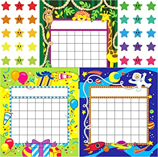 Youngever 81 Pack Classroom Incentive Chart in 3 Designs with 480 Star Stickers, Animal and Planet Design