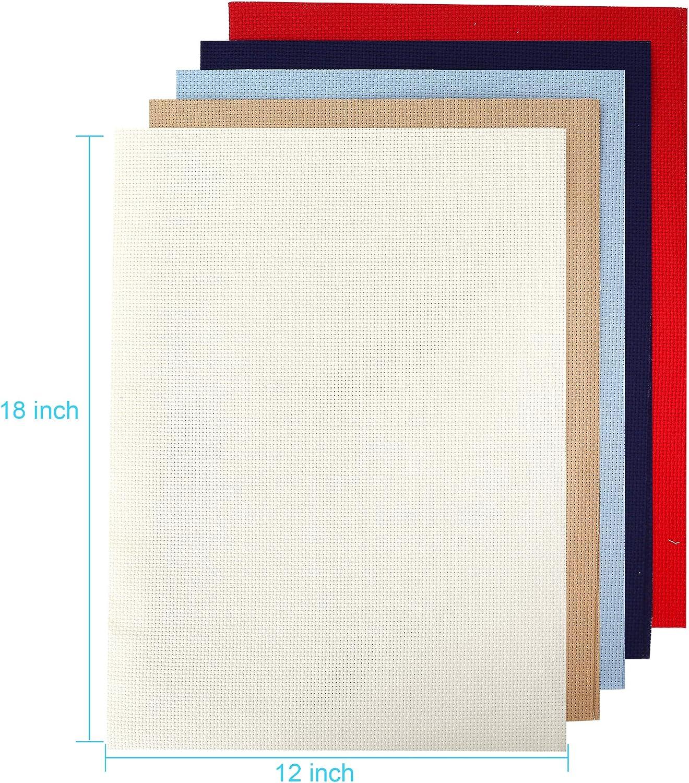 Aida Cloth 14 Count Multi Color Cross Stitch Fabric 12/×18inch 5color