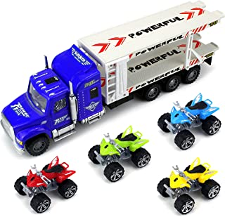 All Terrain Transport Trailer Children's Friction Toy Semi Truck Ready To Run 1:32 Scale w/ 4 Toy ATVs (Colors May Vary)
