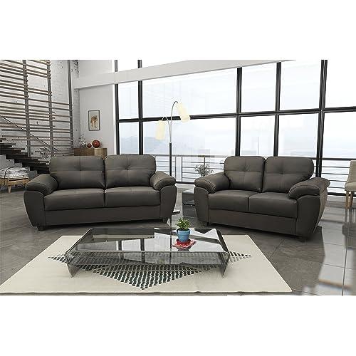 e3b73b3ecc7e New Carlos 3 + 2 Seater Sofa Set Black or Brown Faux Leather (Black,